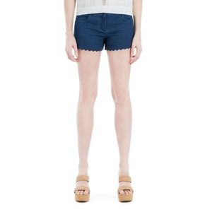 Max Studio Scalloped Denim Jean Shorts